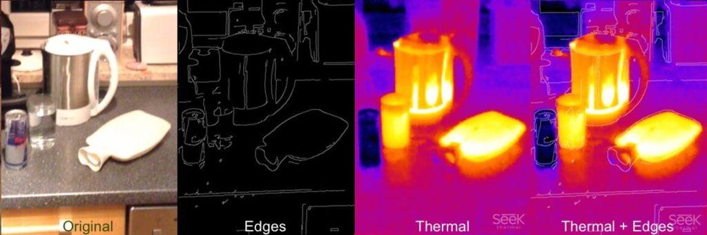 Wärmebild einiger Gegenstände mit Seek Thermal XR und Kombination mit Konturen-Maske