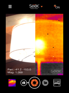 Seek Thermal iOS-App mit Split-Screen