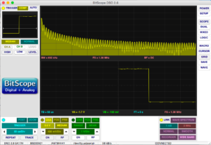 Impuls am Pulse-Ausgang des MightyOhm Geiger Counter