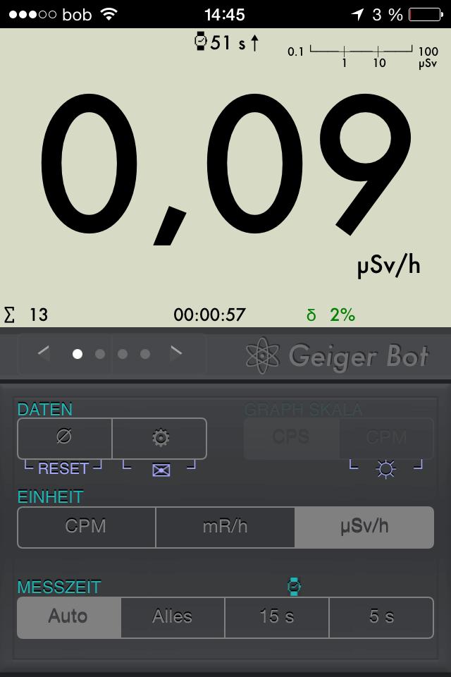 Geiger Bot iOS App aktueller Strahlungswert