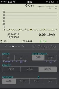 Geiger Bot iOS App Strahlungsverlauf