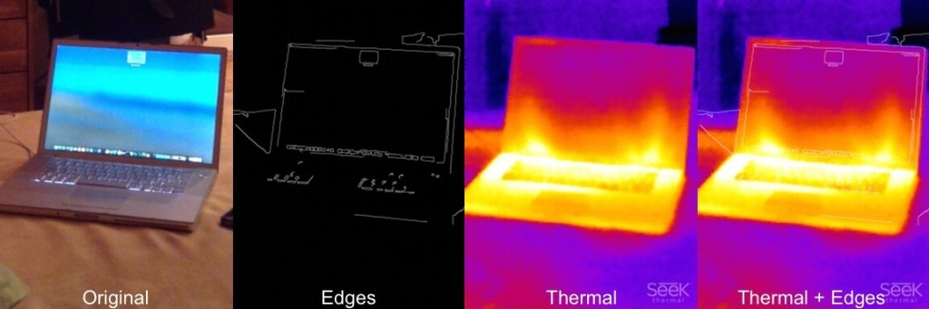 Wärmebild eines Laptops mit Seek Thermal XR und Kombination mit Konturen-Maske