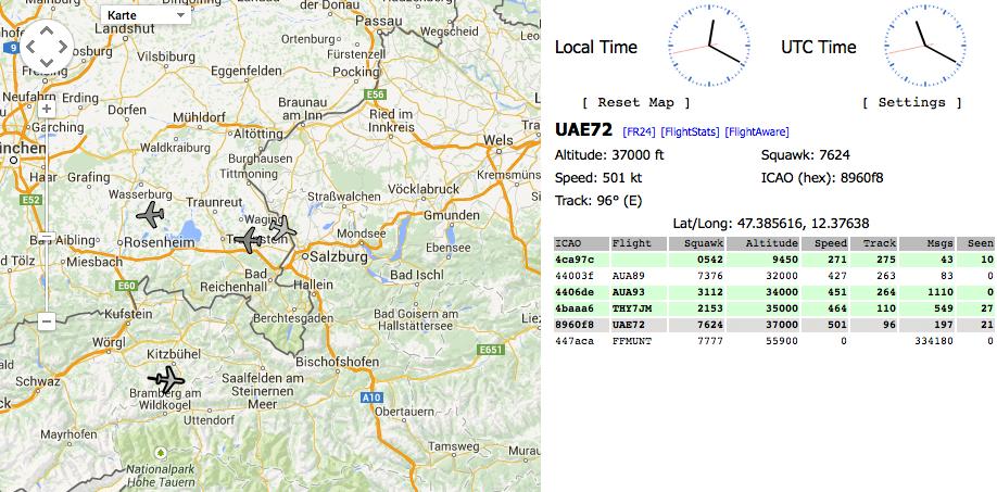 Dump1090: Web-Interfaceauf Port 8080 mit Kartenansicht der Flugbewegungen